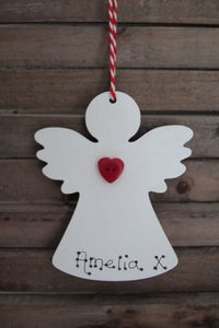 Personalised Red Heart Angel Christmas Decoration