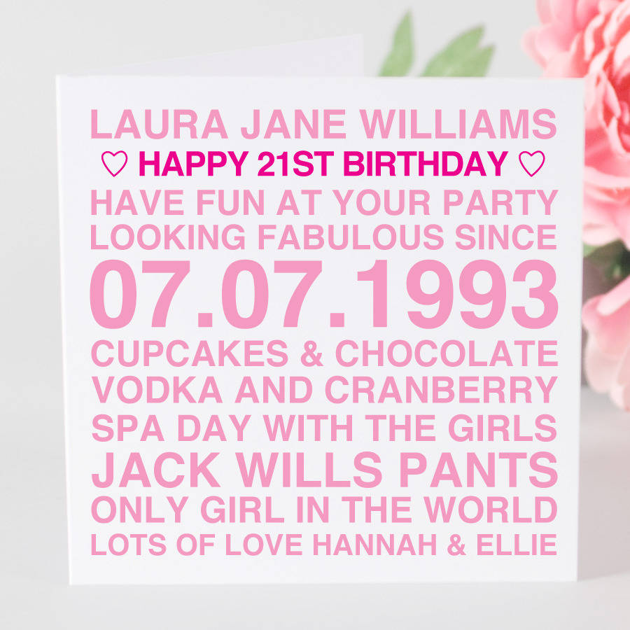 personalised birthday card for her by megan claire
