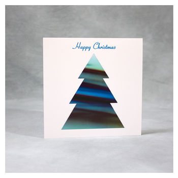 Blue Green Christmas Tree Card