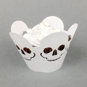 Twelve Halloween Skull Cupcake Wrappers - cake decoration