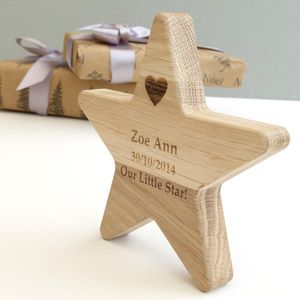 Personalised Oak Baby Wish Star Keepsake - keepsakes