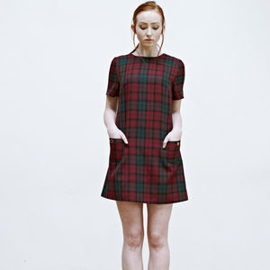 Alexa 60s Tartan Shift Dress - dresses