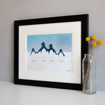 Family of 4 Personalised Penguins in a large black frame