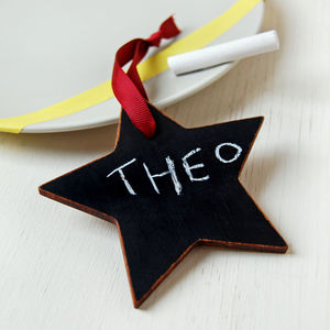 Wooden Blackboard Star Place Setting