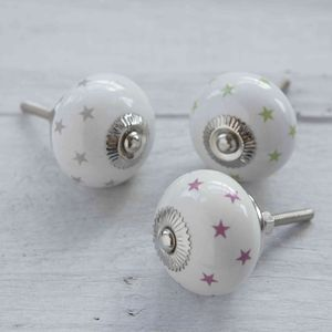 Colourful Stars Ceramic Cupboard Door Knob - door knobs & handles