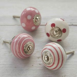 Pink White Cupboard Door Knobs - door knobs & handles