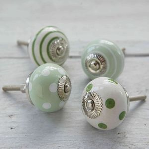 Green Spots And Stripes Ceramic Cupboard Drawer Knobs