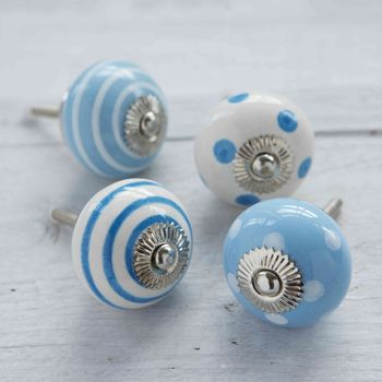 Blue White Ceramic Cupboard Drawer Door Knobs