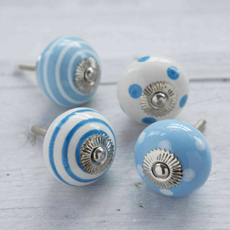 Blue White Ceramic Cupboard Drawer Door Knobs By Pushka