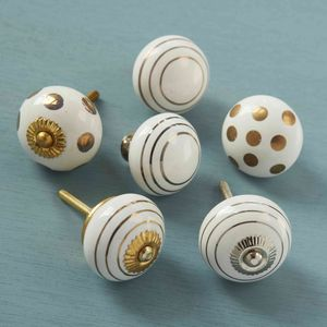 Gold Silver Spotted Striped Ceramic Door Cupboard Knobs - door knobs & handles