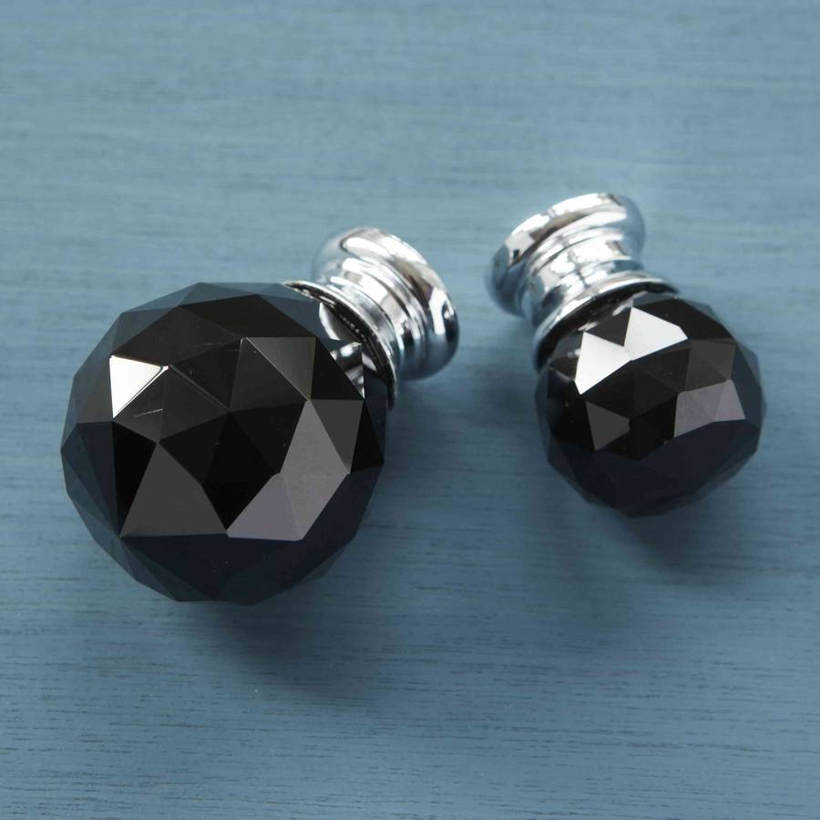 black faceted crystal glass cupboard door knobs by pushka home ...