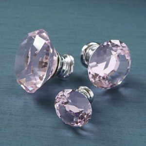 Pink Faceted Crystal Glass Cupboard Knobs