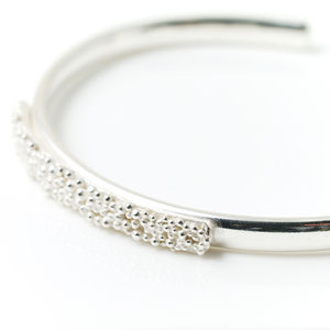 Silver Cuff With Narrow Beaded Top - bracelets & bangles