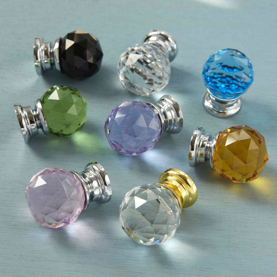 Faceted Crystal Glass Cupboard Door Knobs
