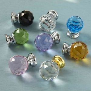 Faceted Crystal Glass Cupboard Door Knobs - door knobs & handles