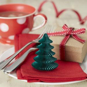 Five Mini Honeycomb Christmas Tree Decorations