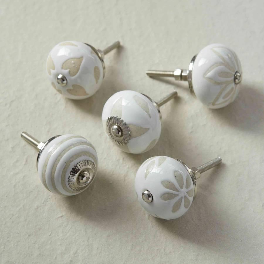 Cream Beige Vintage Porcelain Cupboard Knobs By Pushka
