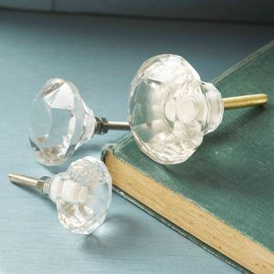 Clear Faceted Glass Cupboard Door Knobs - door knobs & handles