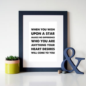 'When You Wish Upon A Star' Disney Inspirational Print - home sale