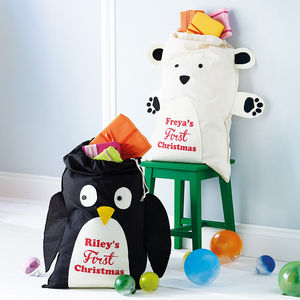 Personalised Penguin Or Polar Bear Christmas Sack - christmas decorations sale