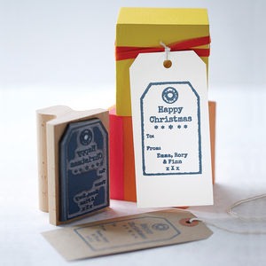 Personalised Christmas Tag Rubber Stamp - cards & wrap