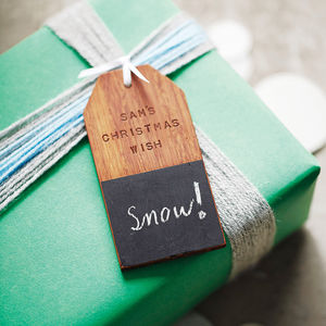 Personalised 'Christmas Wish' Wooden Tag Decoration - ribbon & wrap