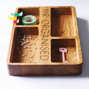 Personalised Oak Organiser Tray - stationery