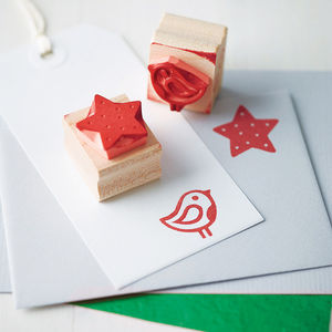 Hand Carved Christmas Rubber Stamp - cards & wrap