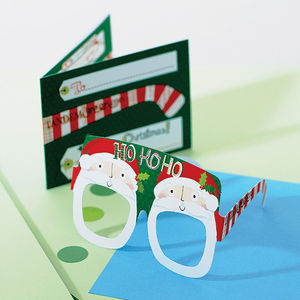 Christmas Card Pack Of Four Fun Glasses - christmas cards: packs