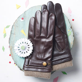 Men's Leather Touch Screen Gloves