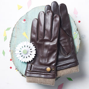 Men's Leather Touch Screen Gloves - for fathers
