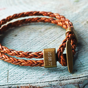 Personalised Men's Leather Bracelet - for your other half