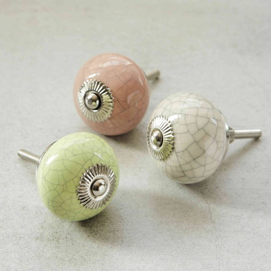 Pink Green And Cream Crackled Ceramic Knobs By Pushka