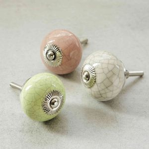 Pink, Green And Cream Crackled Ceramic Knobs - door knobs & handles