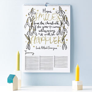 Literary Quotations Perpetual Calendar - stocking fillers under £15