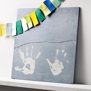 Engraved Hand Or Foot Print Slate Tile - gifts for mothers