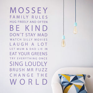 Personalised 'Family Rules' Wall Sticker - living room styling
