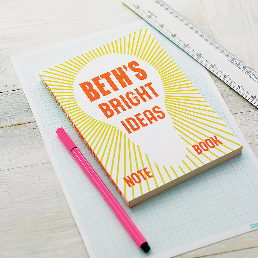 personalised bright ideas notebook by sukie