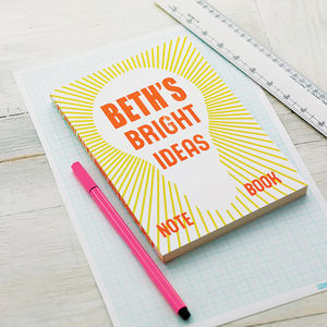Personalised 'Bright Ideas' Notebook - gifts for her sale