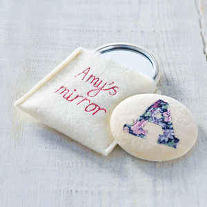 Embroidered Initial Mirror - gifts for her
