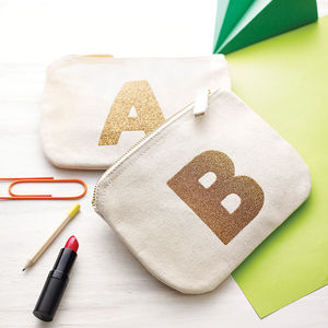 Canvas Glitter Initial Pouch - womens