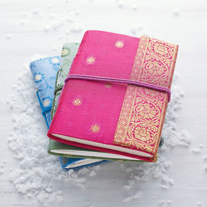 Fair Trade Sari Notebook - writing