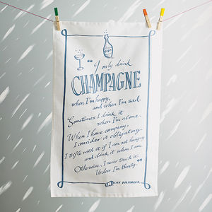 Champagne Quote Tea Towel - stocking fillers