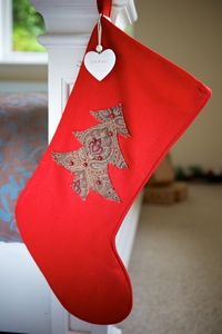 Personalised Red Vintage Christmas Tree Stocking - stockings & sacks