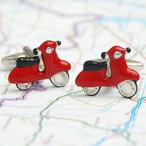 Personalised Red Scooter Cufflinks - men's jewellery