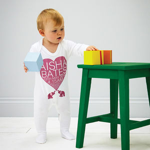 Personalised Heart Pink Or Blue Babygrow - personalised gifts