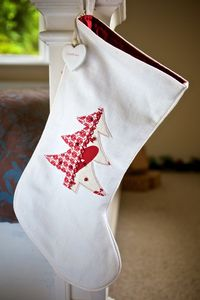 Personalised Winter White Christmas Tree Stocking - stockings & sacks