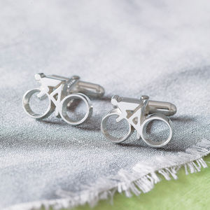 Silver Cycling Cufflinks - 30th birthday gifts