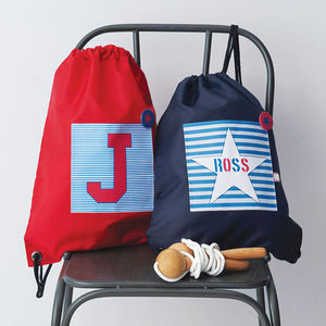 Boys Personalised Striped Waterproof Kit Bag - more