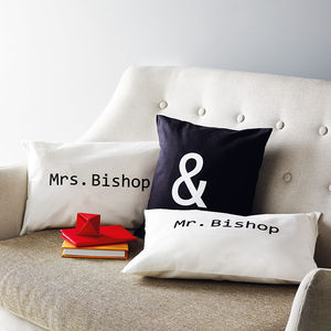 Personalised 'Mr & Mrs' Cushion Cover Set - personalised wedding gifts